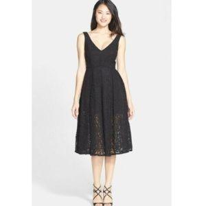Bardot Rosie Lace Midi Fit & Flare Dress in Black